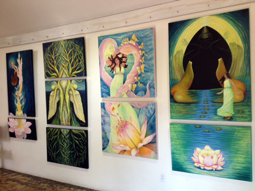 "Entrance Wall at Hillside House for ""Ripple"" displaying donated works by Claudette Dean"