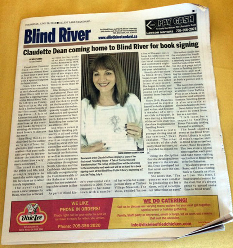 Claudette Dean coming home to Blind River for book signing